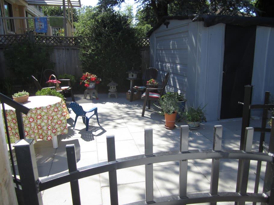 Patio through the garden gate