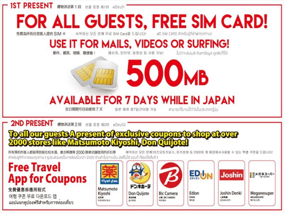 Free SIM card for the guests