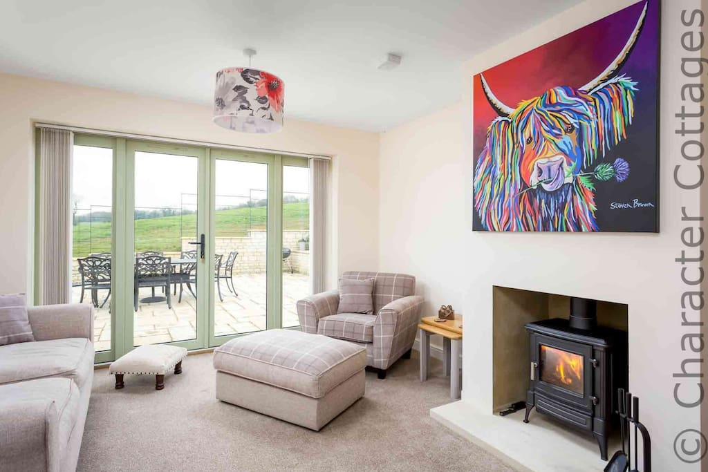 Lovely living room, with a roaring log burner