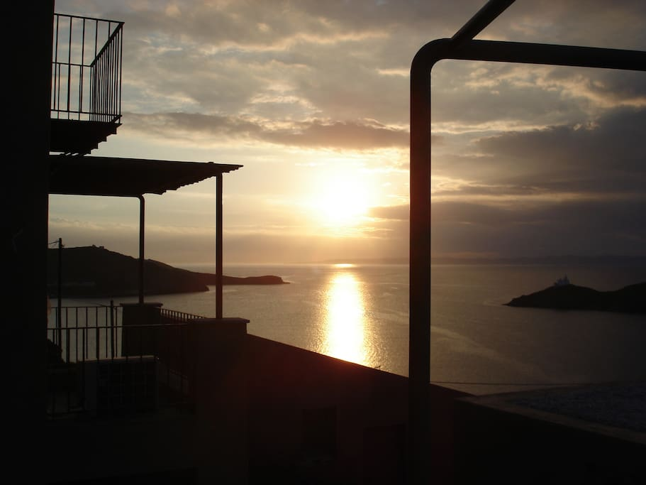 sunset view and the balcony