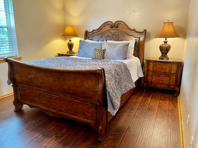 One of Two Queen Bedrooms with memory foam mattress.