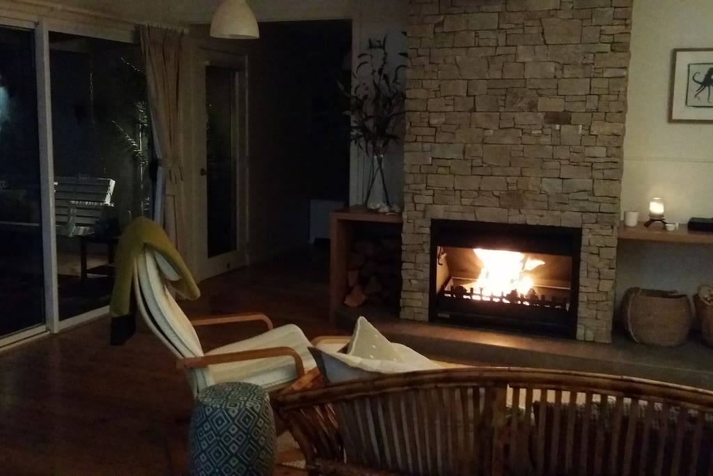 Open fire for cooler nights and air conditioning for warmer days