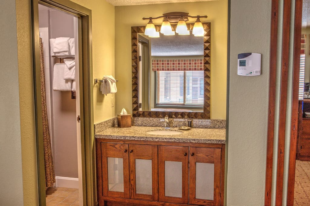 The bathroom features a shower, tub and vanity!
