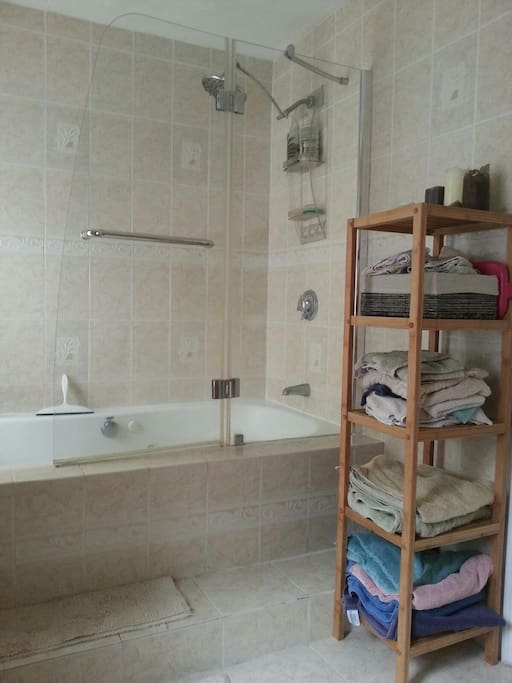 Second floor spacious bathroom with magnificent shower head!