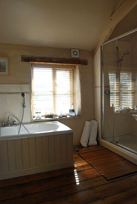 Large bathroom with a tub and a double shower.