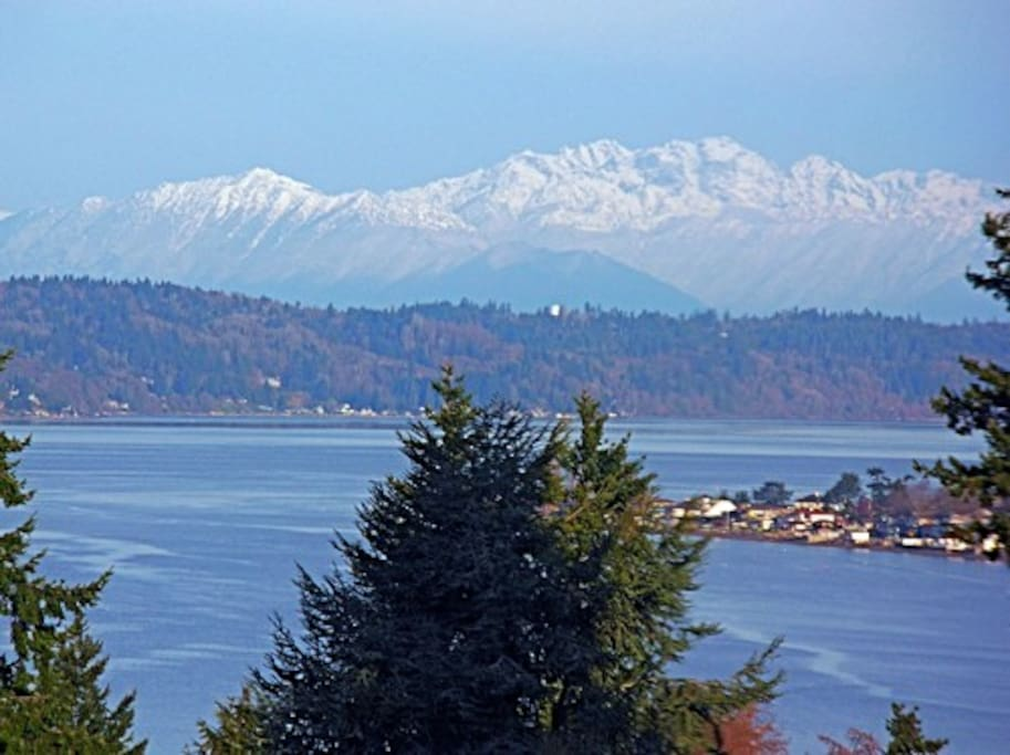Views of Puget Sound, Vashon Island, and the Olympics from your room.