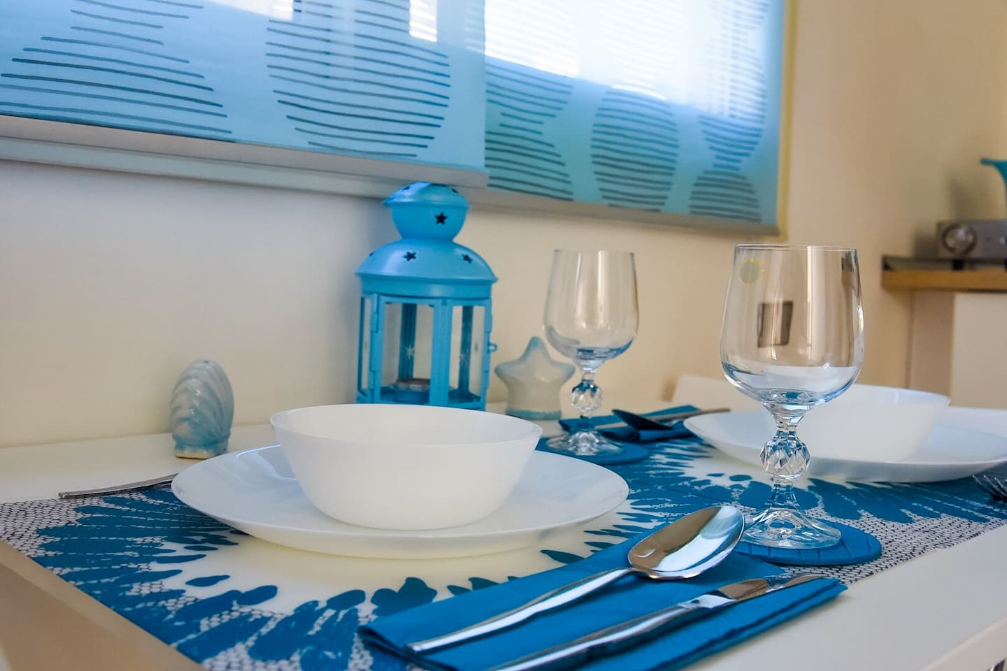 Our blue-themed dining table