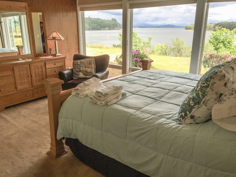 Enjoy the beautiful view from the master bedroom and comfy bed.