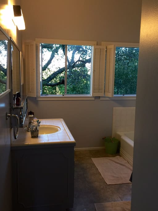 Bathroom with views of ocean and trees from every window