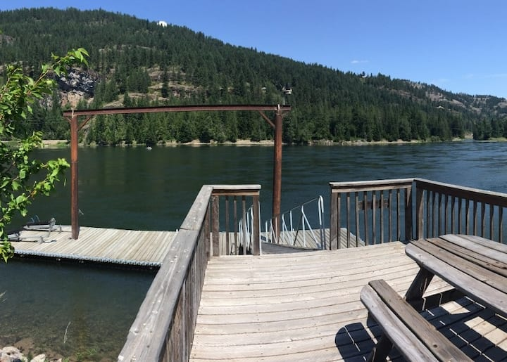Fun Clark Fork Riverfront Home with Private Dock