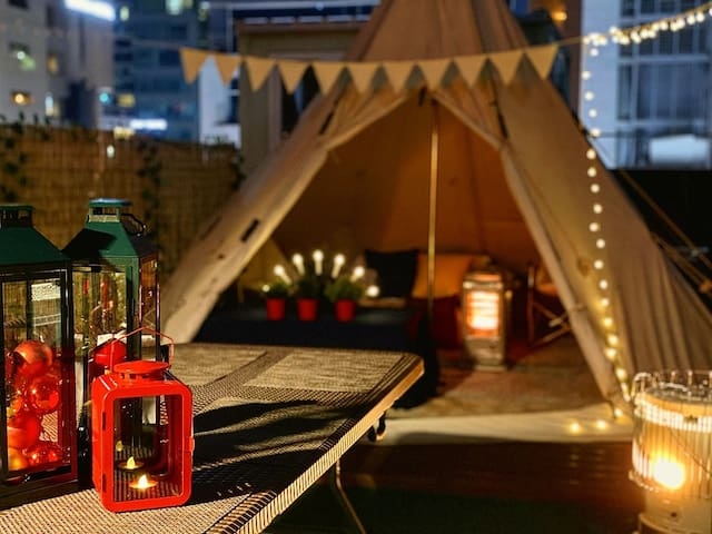 [OPEN] #캠프탑# Rooftop camping & BBQ party 신논현역 1분