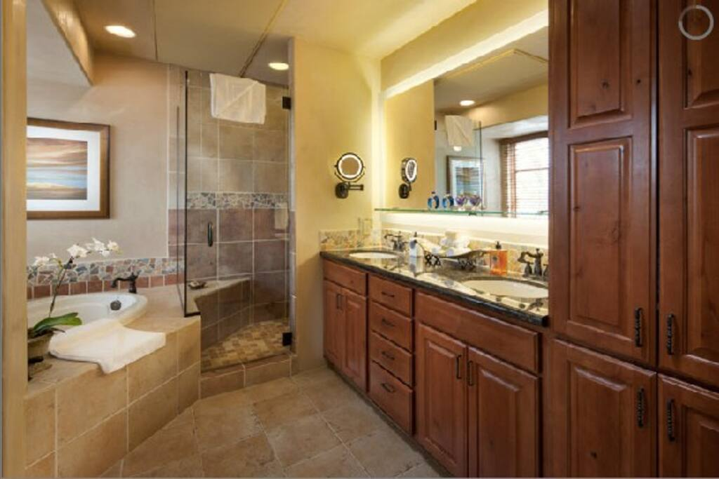 jacuzzi tub, separate shower and water closet.
