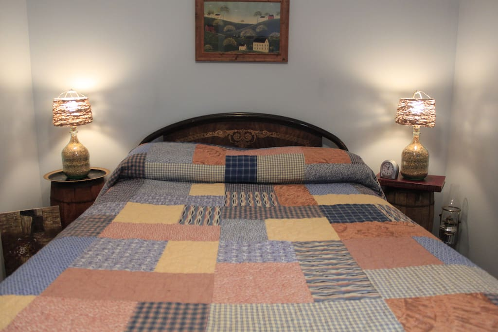 Barn-View bedroom. Rustic decor.  Standard/double size firm mattress.