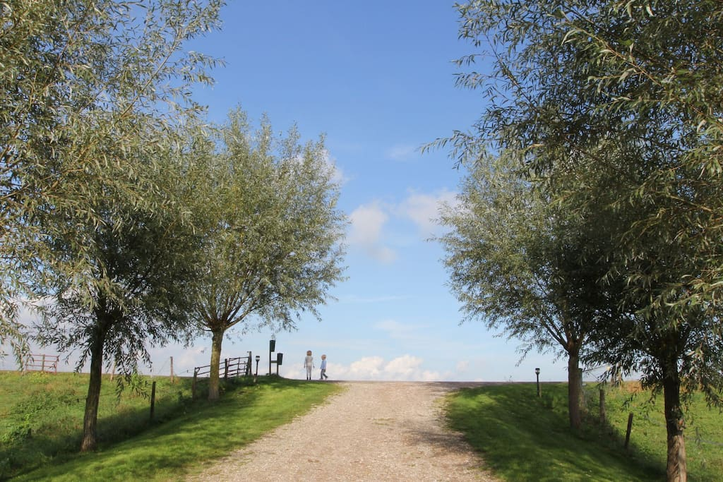 Driveway to our house - our 2 kids on the dijk