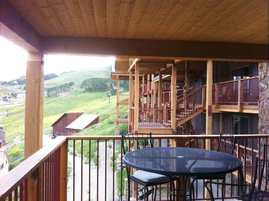 we have huge decks! with table and chairs