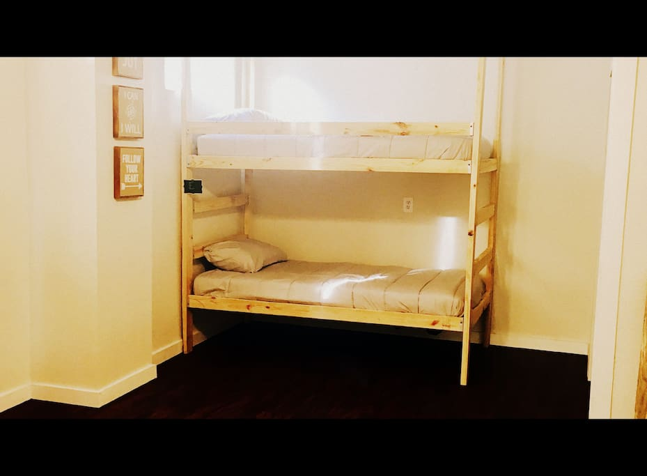 Enjoy our homemade bunk beds!