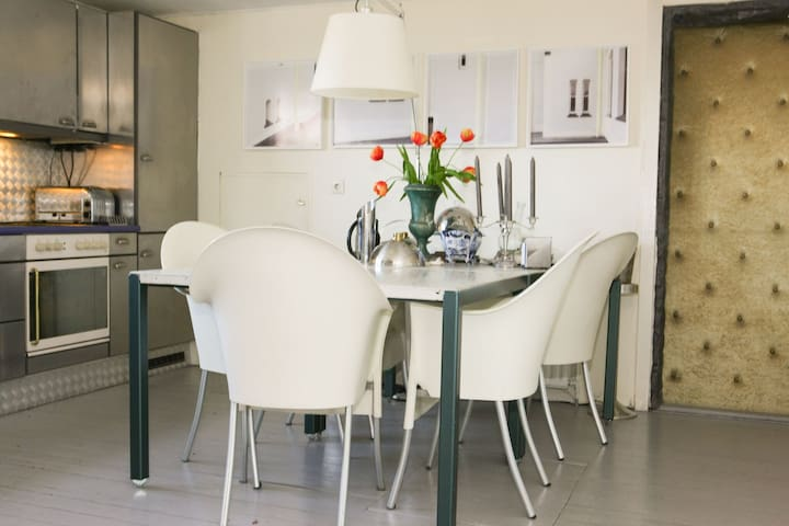 open kitchen with dining table