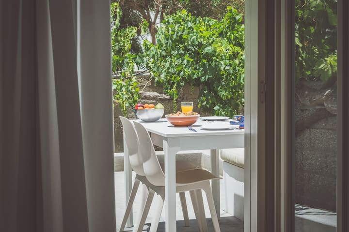 The veranda is surroundedwith Greek Plants, is ideal for your breakfast and  relaxation all day long.