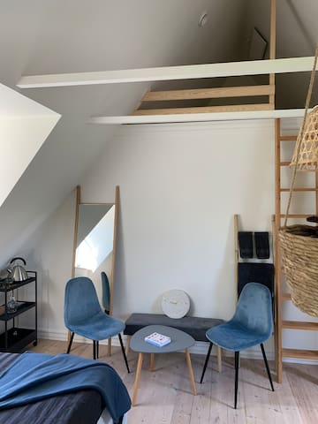 This 3rd. room sleeps 2-4 guests. The kingsize double bed can be divided into 2 single beds. The loft room sleeps 2 people on futon mattresses. This is an ideal room for a small group of hiking friends. This room has tea making facilities.