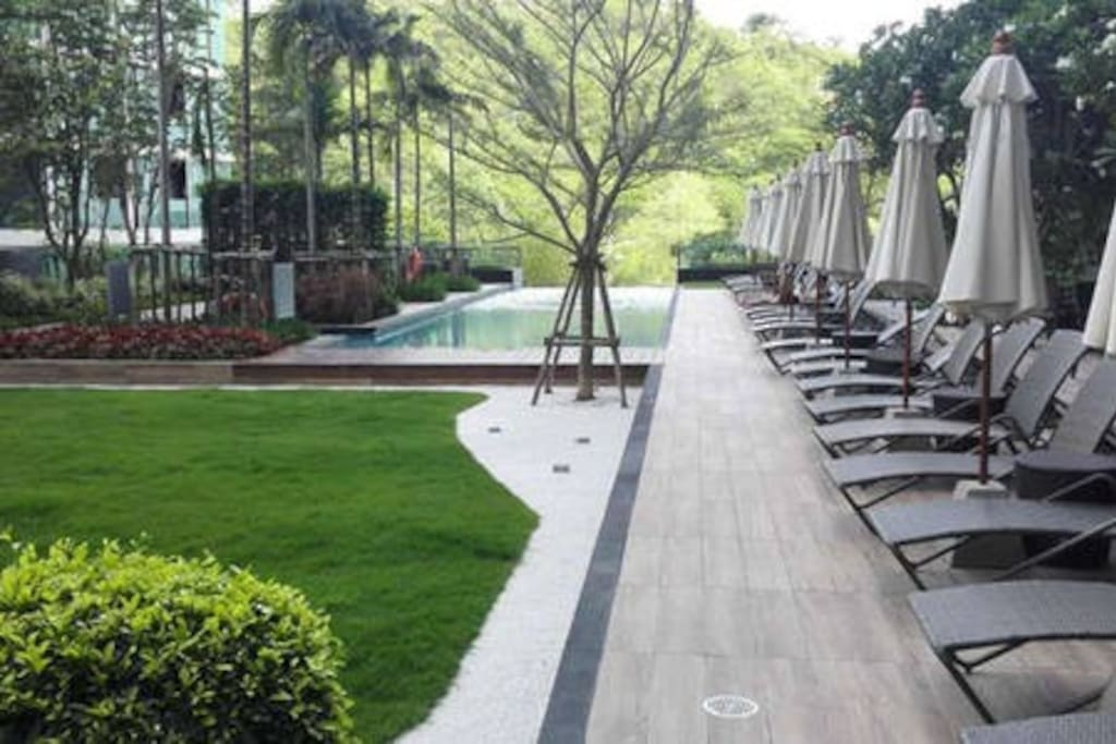 Pool with jet stream, meditation garden and outdoor yoga, sunset deck and outdoor barbecue area