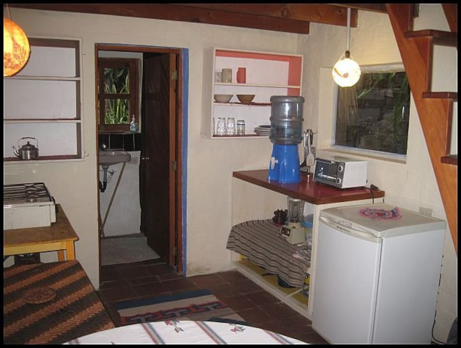 Kitchen area with gas burners and toaster oven