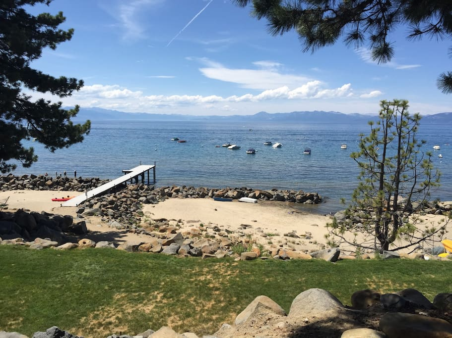 Lake Tahoe at your door step! This private beach is part of the amenities, our unit is not lakefront.