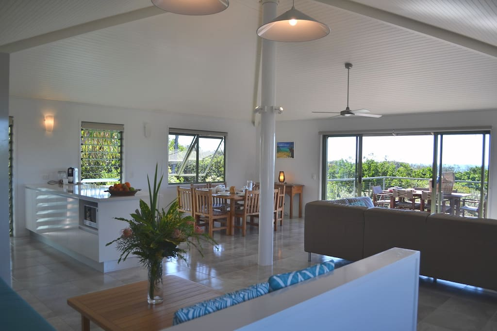 Upstairs living dinning and kitchen area in one the beach houses.