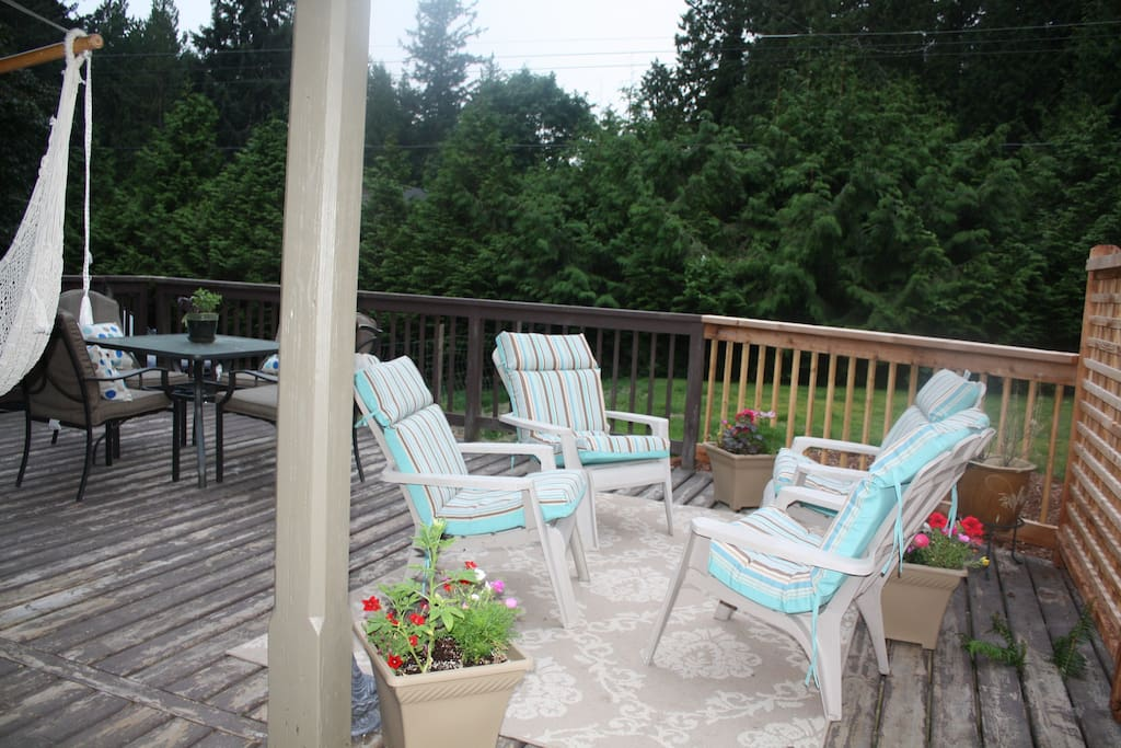 Back deck with dining and lounging area