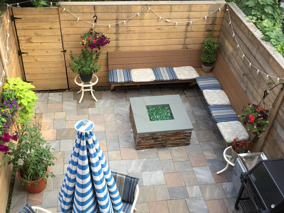 Backyard with Grill and Gas Fire Pit