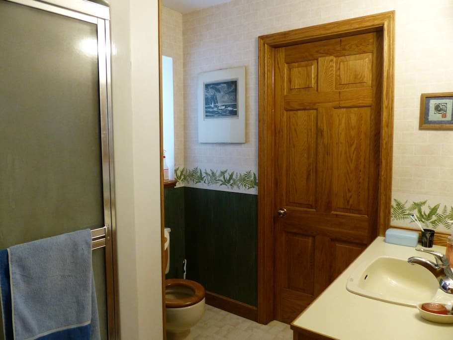 Private bathroom on the same hall as the bedroom. Laundry facilities behind the door in the pic.