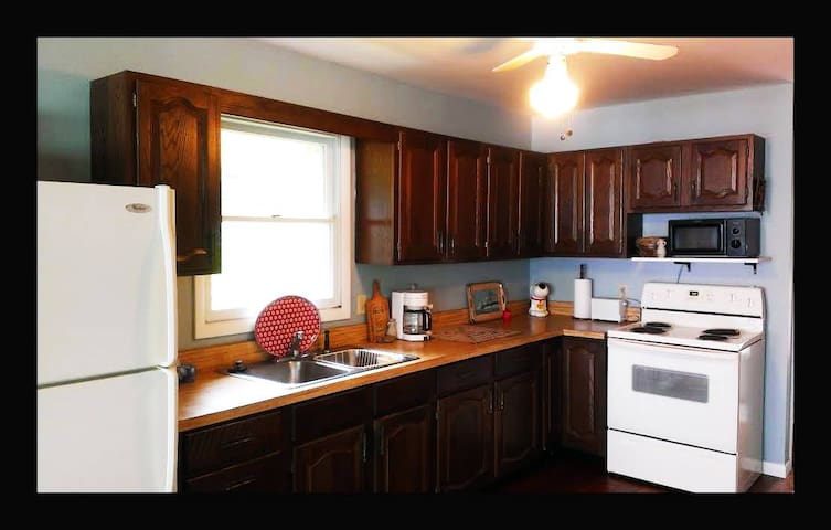 Spacious, well-equipped kitchen.
