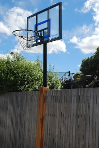 Basketball ring - the front drive doubles as a good half court!