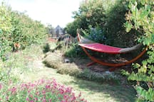 Double hammock in the tranquil garden. Relax some more...