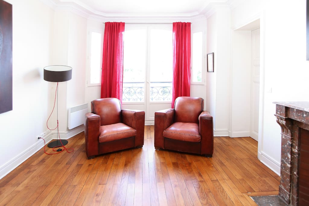 Dining Room / Living Room 1 - Club Armchairs, with bow windows onto lively Menilmontant Square