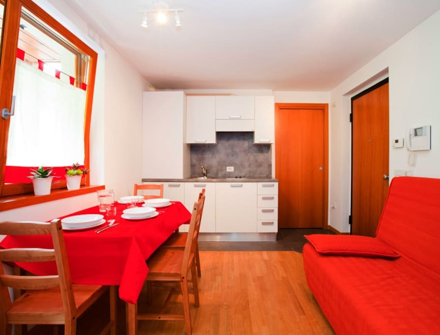 Nella zona giorno trovate un divano-letto matrimoniale, la cucina dotata di piastra a induzione, frigorifero, pentole, stoviglie e tutto il necessario per la pulizia