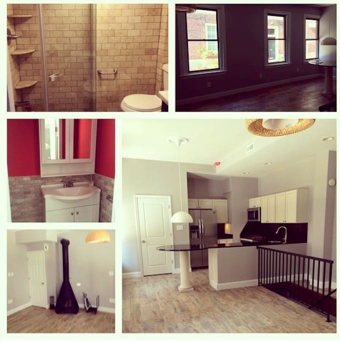 Collage of upstairs before being furnished. Top right is the downstairs full bathroom with standing shower.