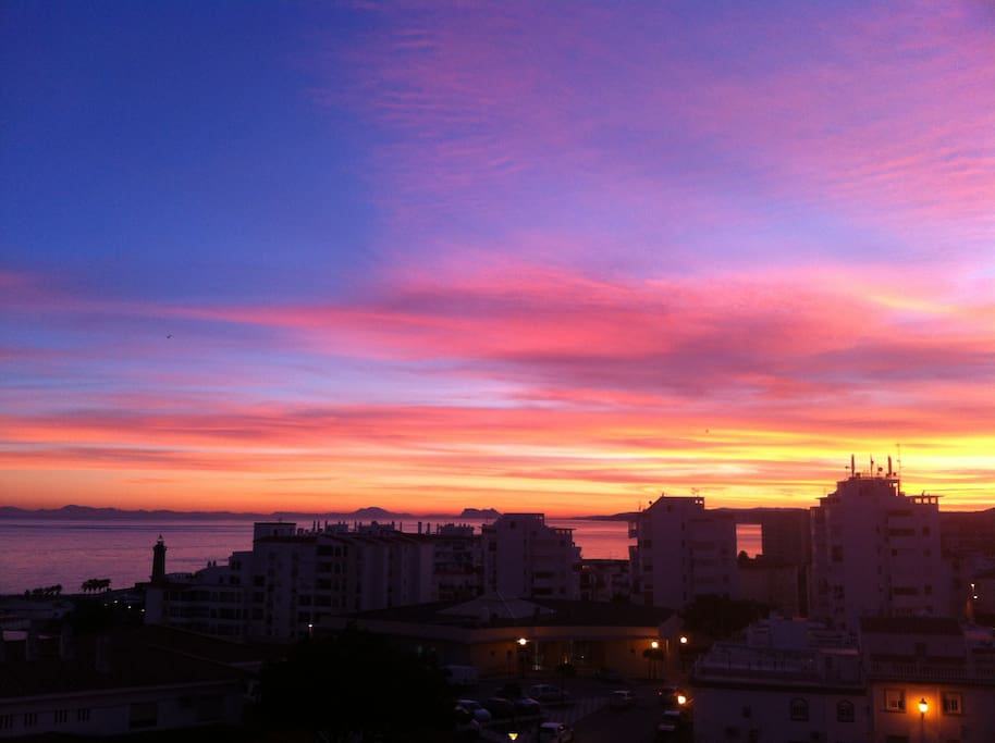 Sunset from the balcony, looking towards Gibraltar and North Africa.