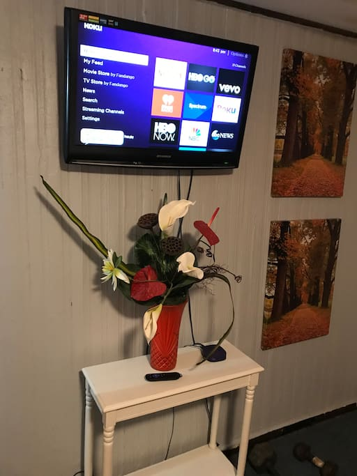 The theme is trees and flowers also cable tv with internet at high speed