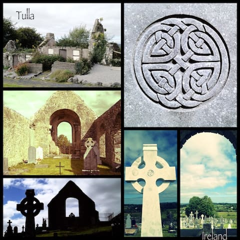 Celtic Crosses of Tulla.  Photo by Lou Endicott from Melbourne.