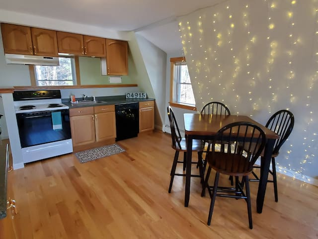 Kitchen & Dining with cozy fairy light wall!