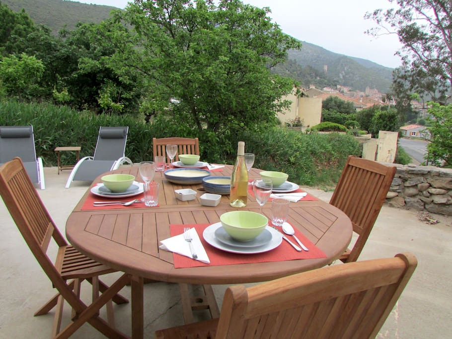 Private terrace with view of Roquebrun