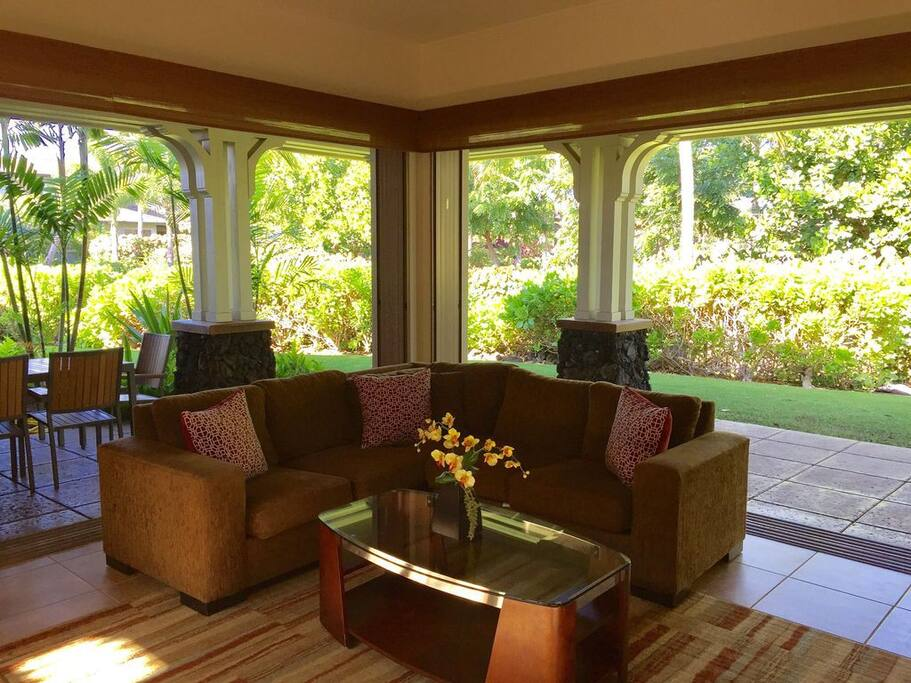 Enjoy amazing views of palm trees right from your living room.