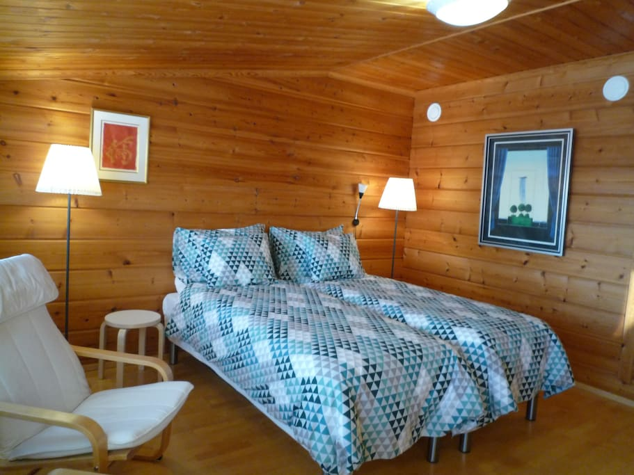 Room Kieppi for two in second floor, stairs,  20 m2, 80 €  extra bed 30 €,  portable chemical toilet, shower and toilet are in downstairs