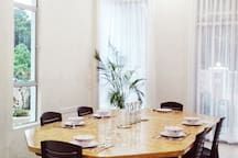 Enjoy a good home cook meal with your loved one. This table is very big. Easily can seat 12 - 15 people.