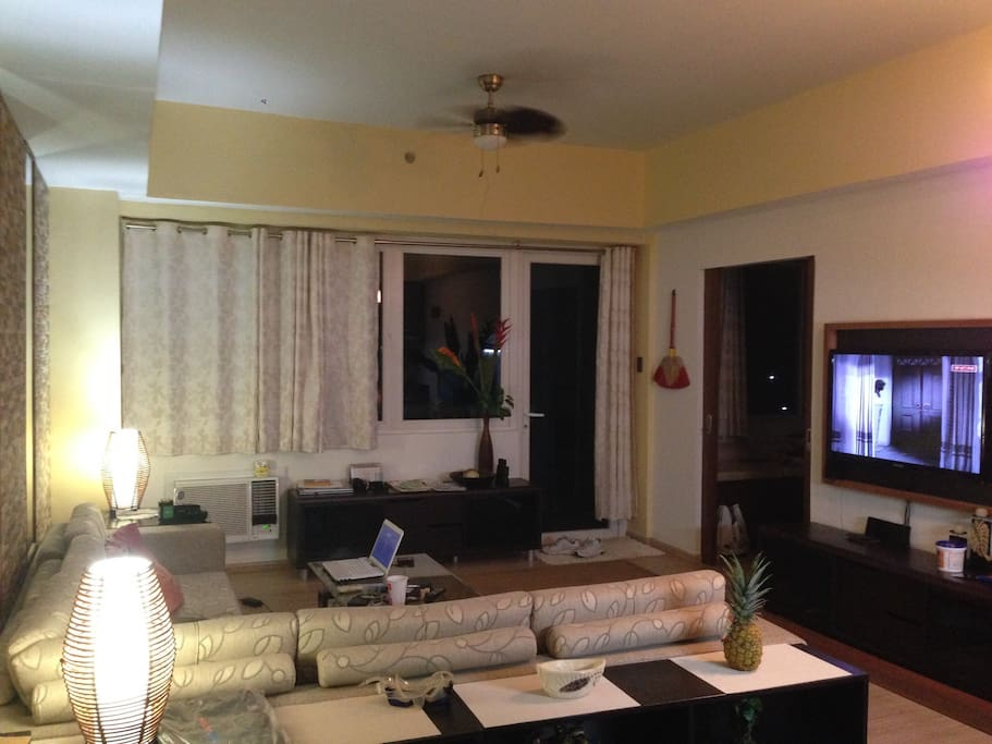Living Room with Cable TV and WiFi