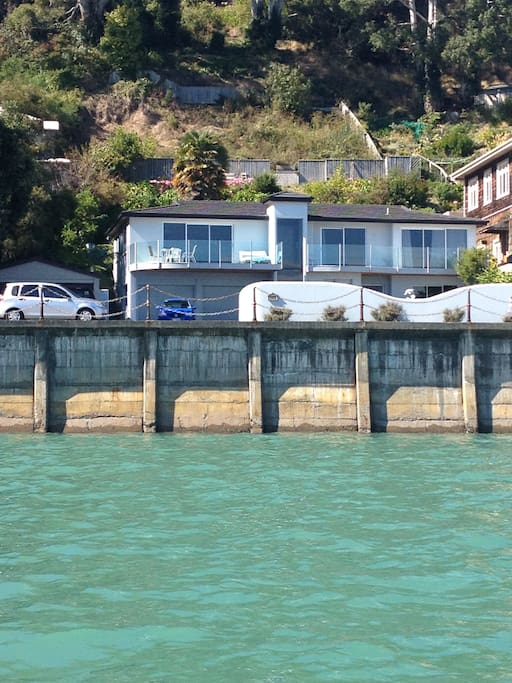 view of apartment from ocean.