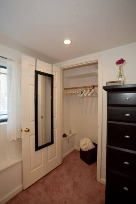 Closet, full length mirror  and dresser