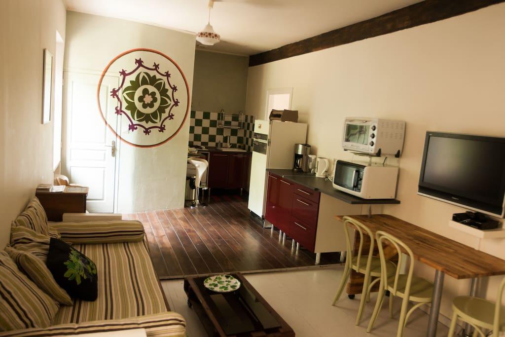 L'appartement : salon avec kitchenette