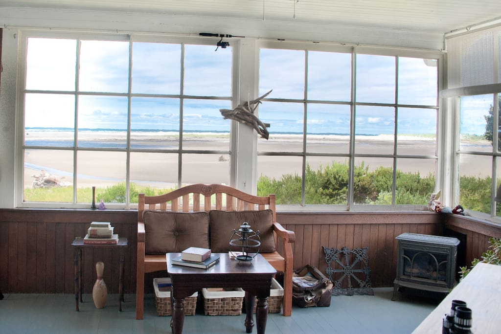 sunroom with view of estuary and Pacific ocean