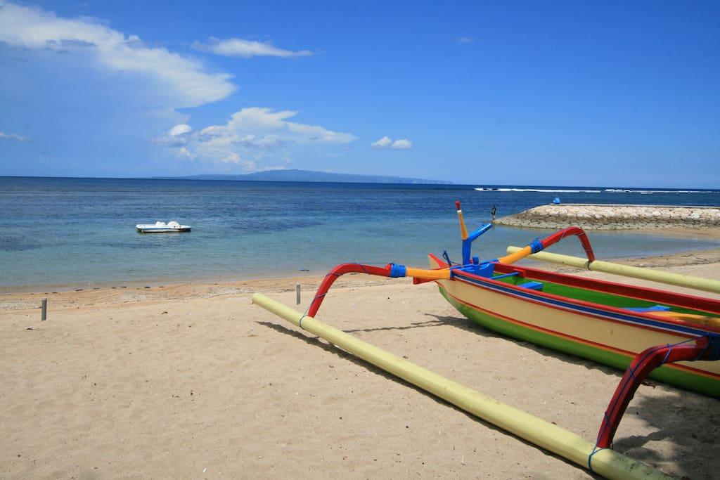 Sanur white sand beach via a private entrance from the villa